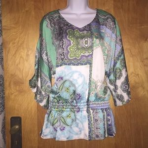 Aqua & Blue Paisley Chico's Peplum Tunic Top